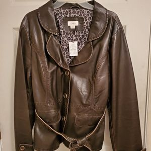 Brown leather women's blazer NWT